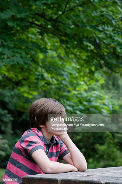 "boy sitting at picnic table - ""compassionate eye"" ストックフォトと画像"