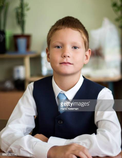 Boy sitting in classroom