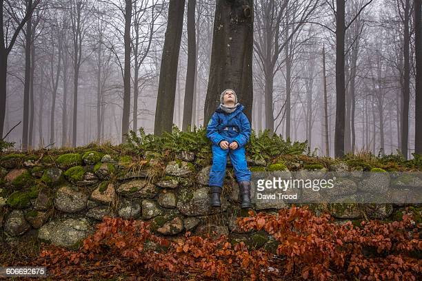 Boy sitting on stone wall in misty forest