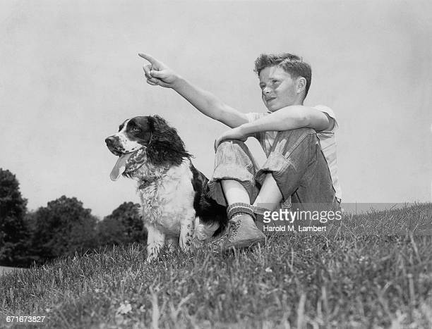 """ boy sitting with dog, pointing"" - pawed mammal stock pictures, royalty-free photos & images"