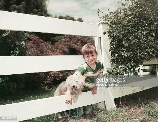 boy sitting with puppy near fence  - mamífero con garras fotografías e imágenes de stock