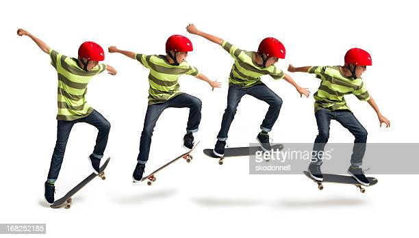 boy skateboarding on a white background - ollie pictures stock pictures, royalty-free photos & images