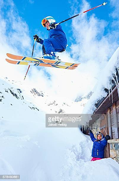 Boy skiing, Chamonix, France