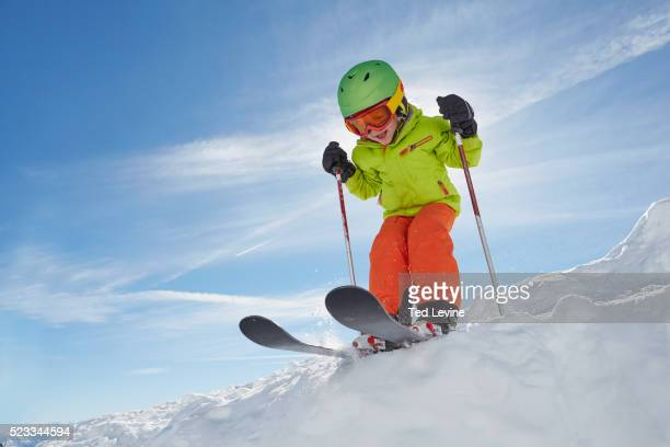 boy skiing - skiing stock pictures, royalty-free photos & images