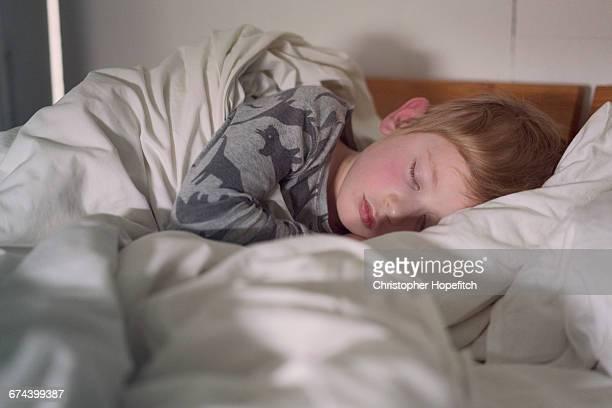 Boy sleeping in parent's bed