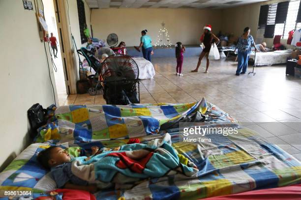 A boy sleeps as others gather in a shelter for Hurricane Maria victims on December 25 2017 in Toa Baja Puerto Rico 12 adults and 11 children...