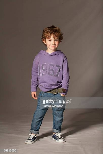 Boy smiling in studio