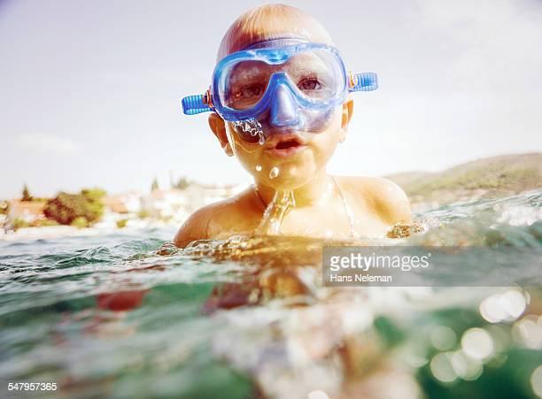 Boy snorkeling in the sea