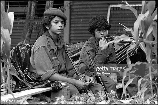 Boy soldiers of the Sandinista National Liberation Front awaiting orders, 8th July 1979.