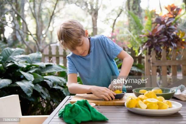 Boy squeezing lemon for lemonade at garden table