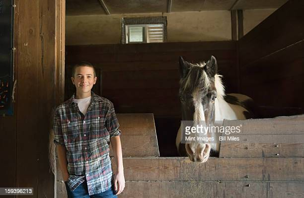 a boy standing beside a horsebox in the stables at an animal sanctuary. a horse with its head over the gate. - ソーガーチーズ ストックフォトと画像