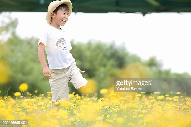 boy (5-7) standing in field full of flowers, smiling - 麦わら帽子 ストックフォトと画像