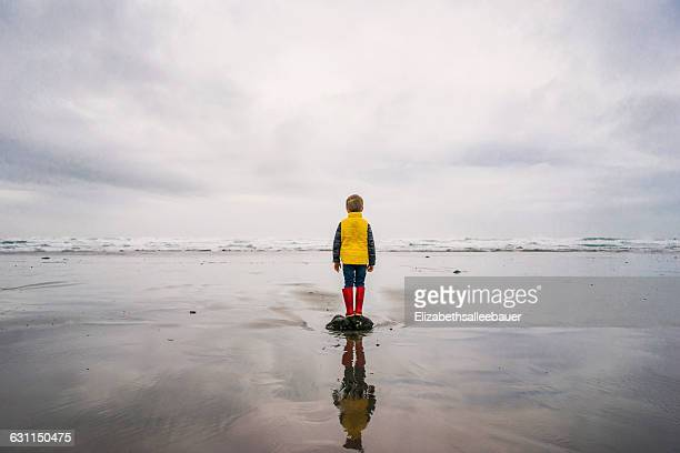Boy standing on a rock by the sea