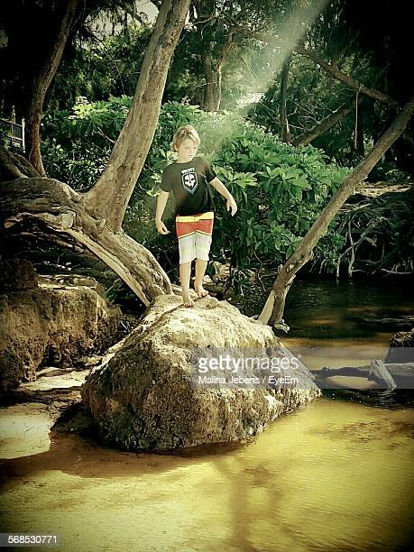 Boy Standing On Top Of Rock Looking At River In Forest
