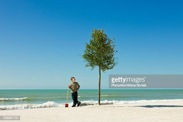 Boy standing with shovel beside tree planted on beach
