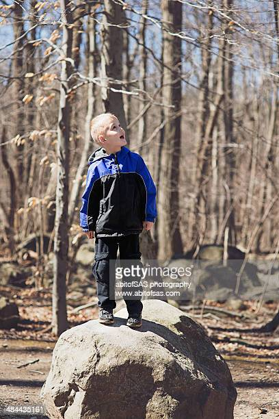 boy stands triumphantly on top of boulder - baggy pants stock photos and pictures
