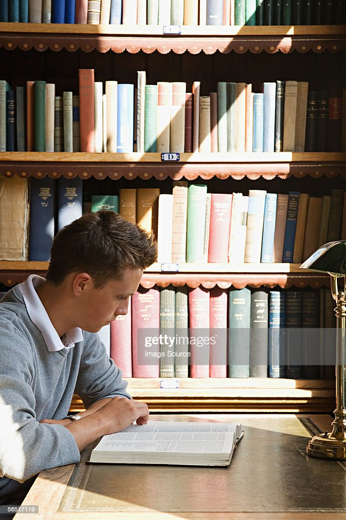 Boy studying in the library : Stock Photo
