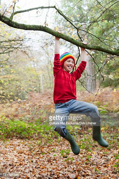 Boy swinging from tree in forest