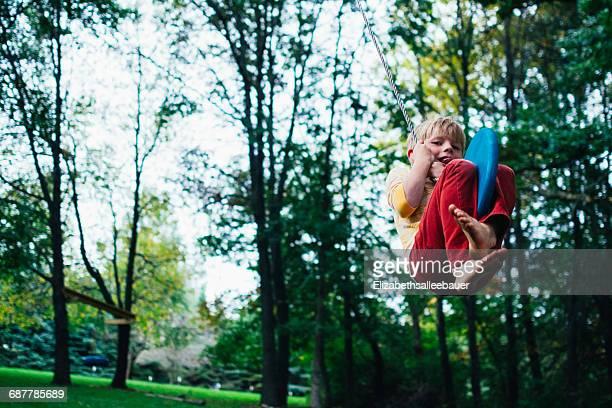 Boy swinging on a rope swing in the garden