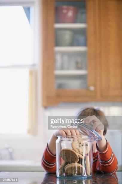 Boy taking chocolate chip cookies
