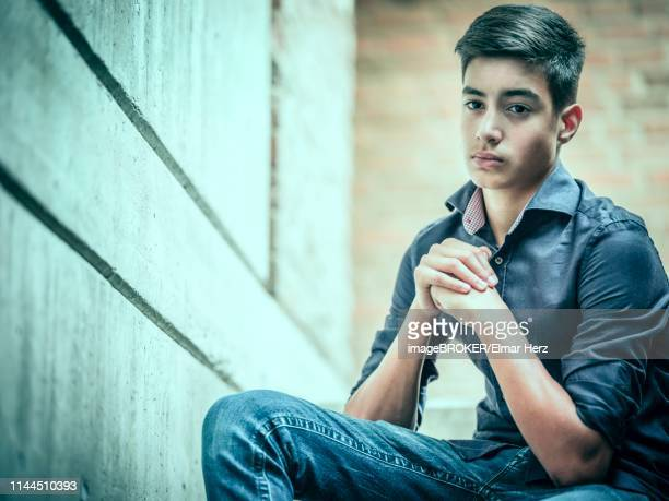 boy, teenager, 14 years, sitting on stairs, direct view, look, portrait, germany - 16 17 years stock pictures, royalty-free photos & images