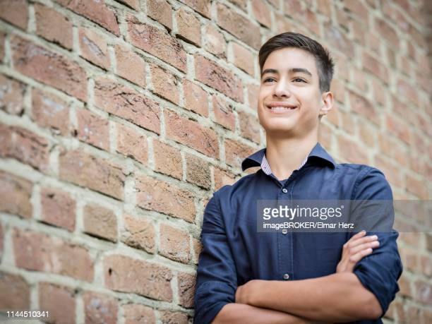 Boy, teenager, 14 years, standing and smiling on the wall, portrait, Germany
