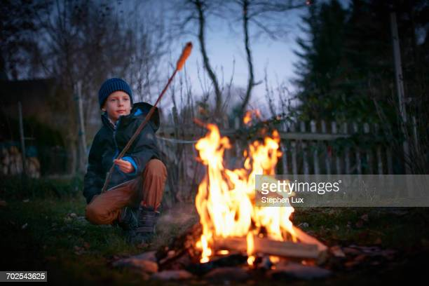 boy toasting marshmallows on garden campfire at dusk - kind im grundschulalter stock-fotos und bilder