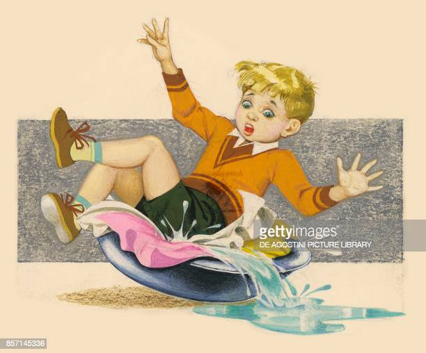 Boy toppling backwards into a basin filled with soaking clothes drawing