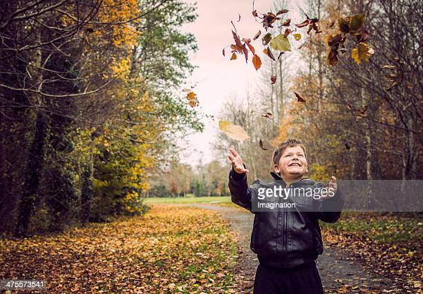 boy Tossing Autumn leafs in the air in a park