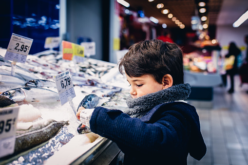 Boy touching a fish in the fish market - gettyimageskorea