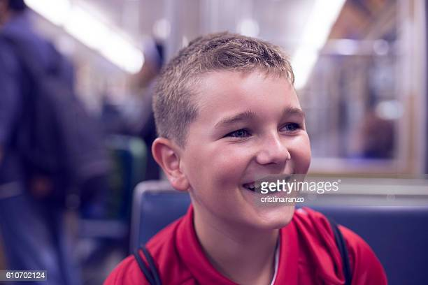 Boy travelling in train