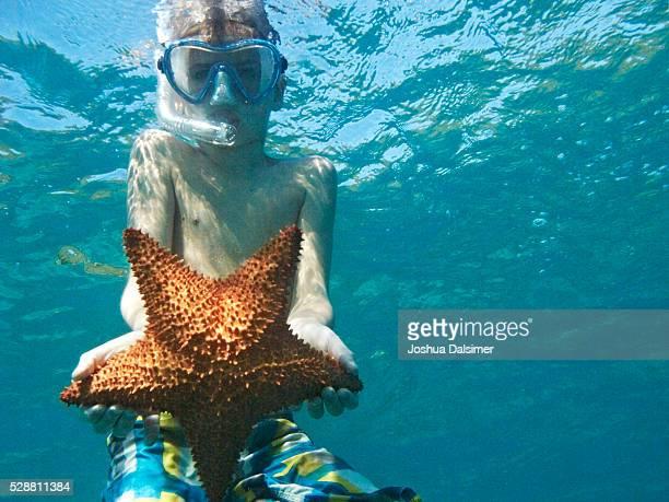 Boy underwater with Star fish