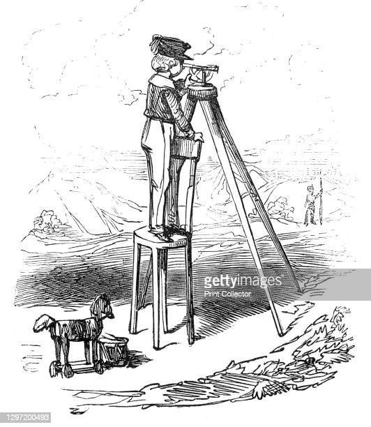Boy using surveying instrument, 1845. Illustration to 'Railway Mania', a story by Alfred Crowquill, a satire on the obsession with the railways, a...