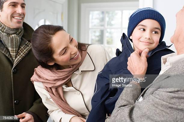 Boy visiting grandfather