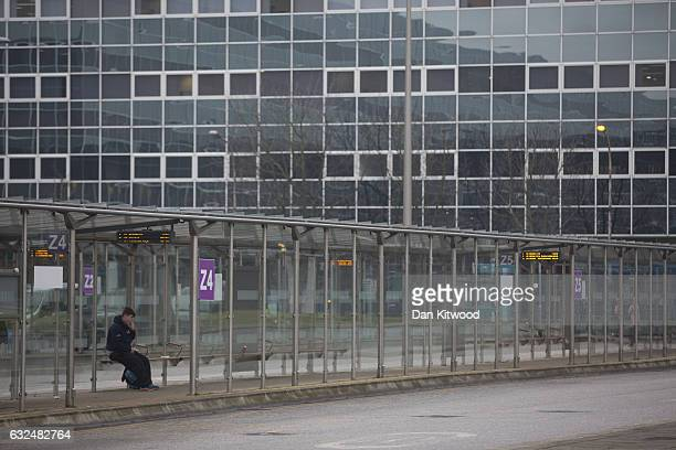 A boy waits for a bus at the bus station on January 23 2017 in Milton Keynes England Milton Keynes in Buckinghamshire marks the 50th anniversary of...