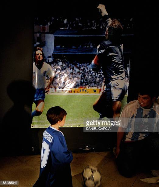 A boy waits to become a member of the Maradonian Church The hand of God a religion dedicated to the Argentina's greatest ever soccer player Diego...