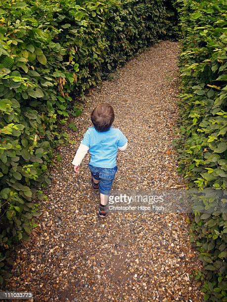 Boy walking in maze