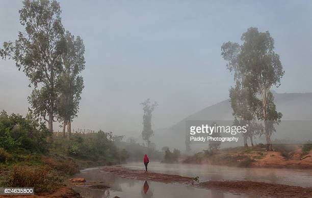 Boy walking in misty waters, Araku Valley