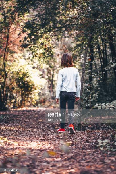 boy walking in the forest - solo un bambino maschio foto e immagini stock