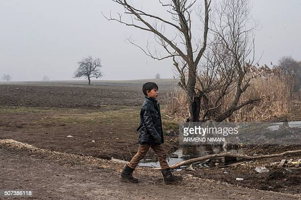 A boy walks after crossing the Macedonian border into Serbia with other migrants near the village of Miratovac on January 29 2016 More than one...