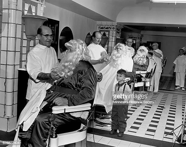 Boy Watching Santa at Barber Shop
