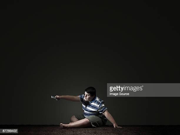 Boy watching television