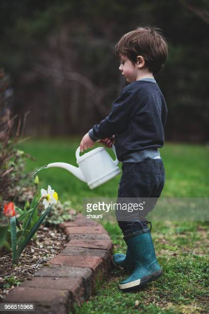 Boy Watering Garden