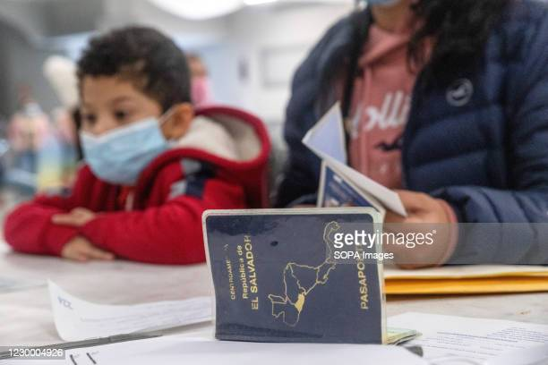Boy wearing a face mask sits with a woman, as she gets her new El Salvadoran passport. The El Salvadoran Consulate is responsible for processing...