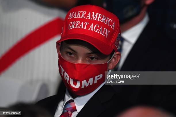 Boy wearing a MAGA hat attends US President Donald Trump's acceptance speech for the Republican Party nomination for reelection during the final day...