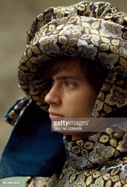 Boy wearing a period costume Palio di Asti Piedmont Italy