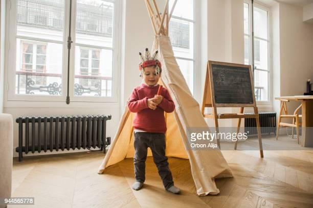 Boy wearing an indian costume