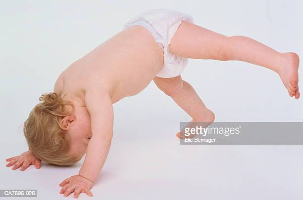 boy (2-3 years) wearing disposable nappy, tumbling - 2 3 years stock pictures, royalty-free photos & images