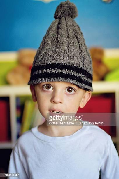 Boy Wearing Knit Ski Hat