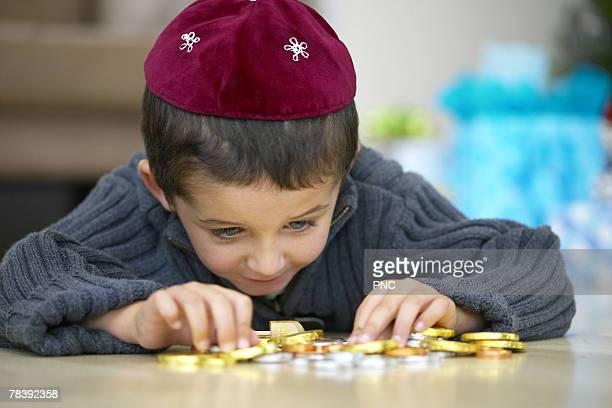 Boy wearing yarmulke